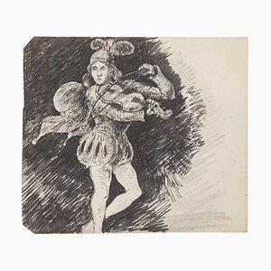 Court Violinist - Original Ink Drawing - 20th Century 20th Century