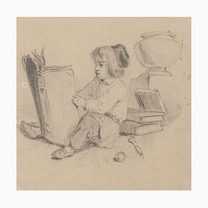 Little Girl Reading - Original Pencil Drawing - 20th Century 20th Century