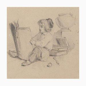 Little Girl Reading - Original Pencil Drawing - 20th Century 20th Century