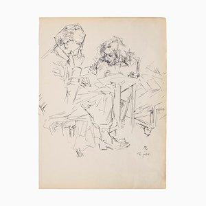 Porträt - Original Federzeichnung auf Elfenbeinpapier - 1950er 1950
