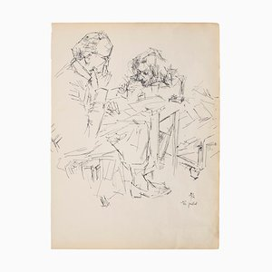 Portrait - Original Pen Drawing on Ivory Paper - 1950s 1950