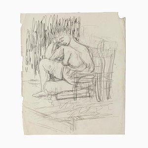 Akt - Original Bleistift auf Papier von Jeanne Daour - 20th Century 20th Century