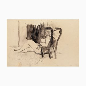 Nude - Original Pencil and China Ink on Paper by Jeanne Daour - 20th Century 20th Century