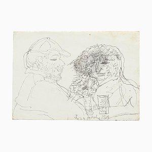 Figuren - Original Stift und Bleistift auf Papier von Jeanne Daour - 20th Century 20th Century