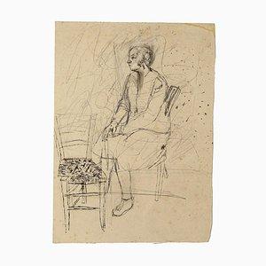Interior - Original Pencil and China Tusche auf Papier von Jeanne Daour - 20th Century 20th Century