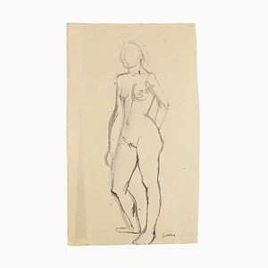 Nude - Original Watercolor by Jeanne Daour- 20th Century 20th Century