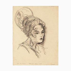 Portrait of Woman - Original Pencil Drawing - 20th Century 20th Century