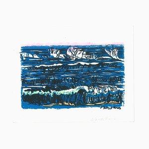 Marine Landscape - Original Siebdruck von Livio De Morvan - 20. Jahrhundert 20. Jahrhundert