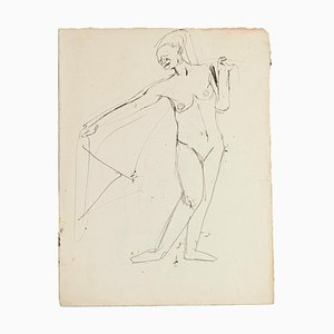 Figure - Original Pen and Pencil by Jeanne Daour - 20th Century 20th Century
