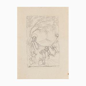 Heilige Szene - Original Bleistiftzeichnung - 20. Jahrhundert 20. Jahrhundert