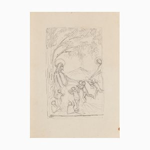 Sacred Scene - Original Pencil Drawing - 20th Century 20th Century