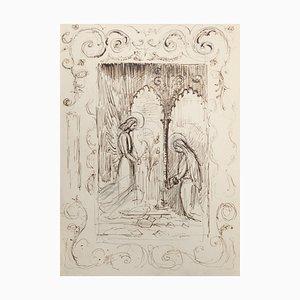 Heilige Szene - Original Federzeichnung - 20. Jahrhundert 20. Jahrhundert