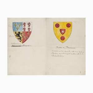 Coats of Arms - Original Pen and Watercolor - 19th Century 20th Century