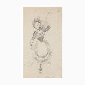 Frauenfigur - Original Bleistiftzeichnung - 20. Jahrhundert 20. Jahrhundert