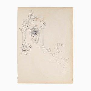 Memorial - Original Drawing in Pen on Paper - 1950s 1950s