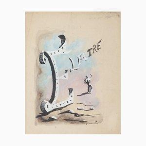 Surrealistische Komposition - Original Mischtechnik Zeichnung - 20. Jahrhundert 20. Jahrhundert