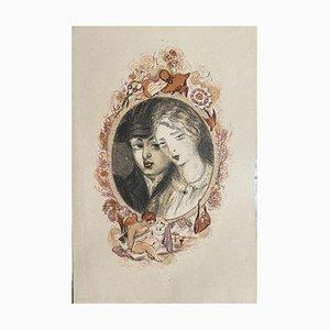 Woman Portrait - Original Lithografie auf Papier - 20. Jahrhundert 20. Jahrhundert