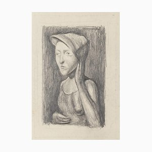 Subject Posing - Original Pencil Drawing - 20th Century 20th Century