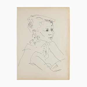 Portrait - Original Pen on Avory Paper - 1950 1950
