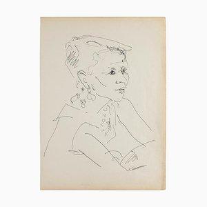 Retrato - Lápiz original sobre papel marfil - 1950 1950