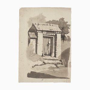 House - Original Tinte und Wasserfarbe Zeichnung - 20. Jahrhundert 20. Jahrhundert