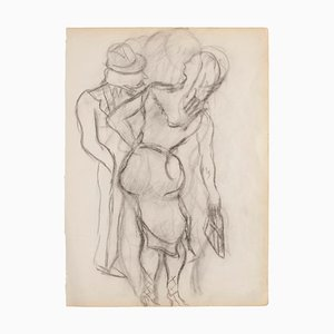 Figures - Original Pencil on Ivory Paper - 1950 1950