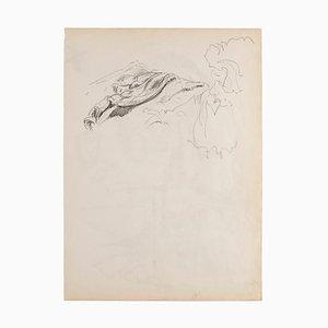 Figure - Original Pencil on Paper - 1950 20th Century