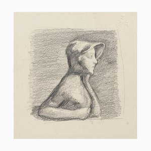 Girl Posing - Original Bleistiftzeichnung - 20. Jahrhundert 20. Jahrhundert