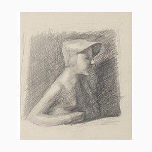 Girl Posing - Original Pencil Drawing - 20th Century 20th Century