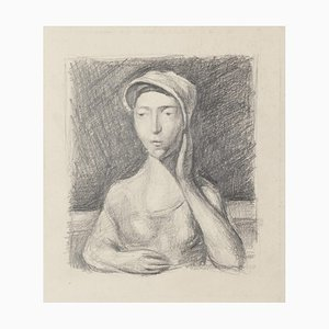 Girl Posing - Original Pencil Drawing - 20th Century 20th Century