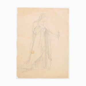 Figure - Original Pencil on Paper - 19th Century 19th Century