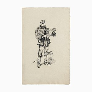 Soldier - Original Etching on Paper - 19th Century 19th Century