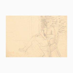 Nu - Crayon Original sur Papier par Jeanne Daour - 20ème Siècle 20ème Siècle