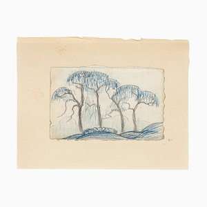 Weeping Willow - Original Pencil and Pastel on Paper - 20th Century 20th Century