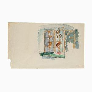 Paravent - Original Mischtechnik auf Papier - 20. Jahrhundert 20. Jahrhundert