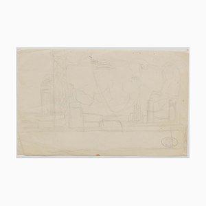 Bridge - Original Bleistift auf Papier - 20. Jahrhundert 20. Jahrhundert