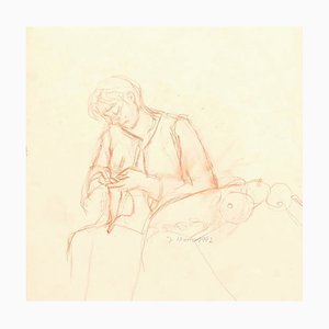 Working Woman - Original Pencil on Paper by Jeanne Daour - 1942 1942