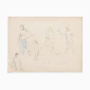 Figures - Original Pencil on Paper by Jeanne Daour - 20th Century 20th Century