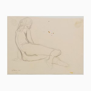 Nude - Original Pencil on Paper by Jeanne Daour - 20th Century 20th Century