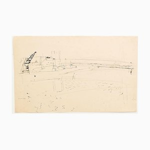 Beach - Original Pencil on Paper by Jeanne Daour - 1940 1940
