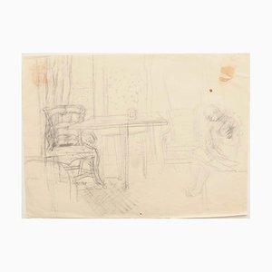 Interior - Original Bleistift auf Papier von Jeanne Daour - 20th Century 20th Century