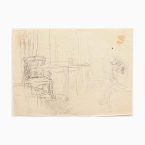 Interior - Original Pencil on Paper by Jeanne Daour - 20th Century 20th Century