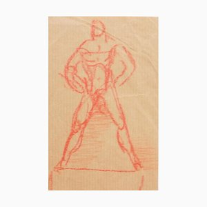 Figure - Original Pencil on Paper by Jeanne Daour - 20th Century 20th Century