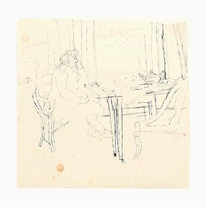 Nude - Original Pencil on Paper by Jeanne Daour - 1940 1940