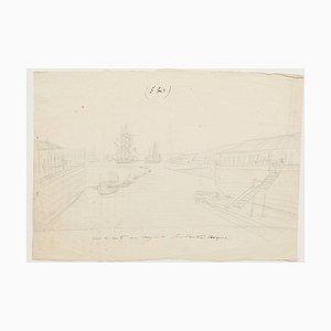 Port - Crayon Original sur Papier - 18ème Siècle 18ème Siècle