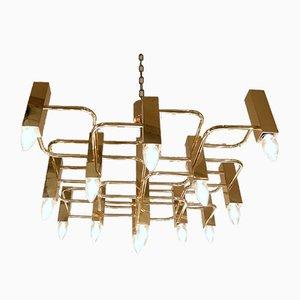 Brass Chandelier With 13 Lightpoints by Gaetano Sciolari, 1970s