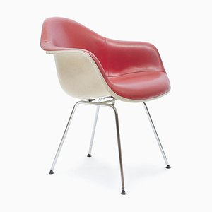 Sedia da pranzo Dax Mid-Century in pelle rossa di Charles & Ray Eames per Herman Miller