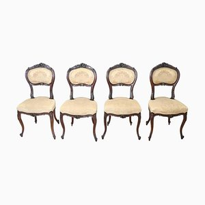 Antique Carved Walnut Chairs, Set of 4