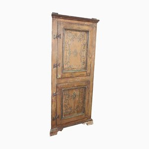 Antique Hand Painted Poplar Wood Corner Cabinet, 1780s