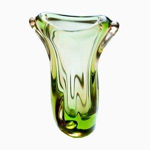 Vase Mid-Century Vert, Jaune et Rose en Verre, République Tchèque